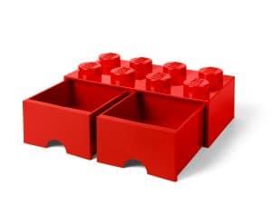 cassetto mattoncino a 8 bottoncini rosso lego 5006131
