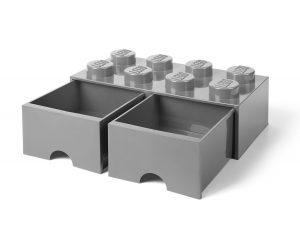 cassetto mattoncino portaoggetti grigio a 8 bottoncini lego 5005720