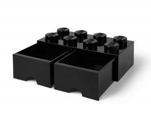 cassetto mattoncino portaoggetti nero a 8 bottoncini lego 5006248