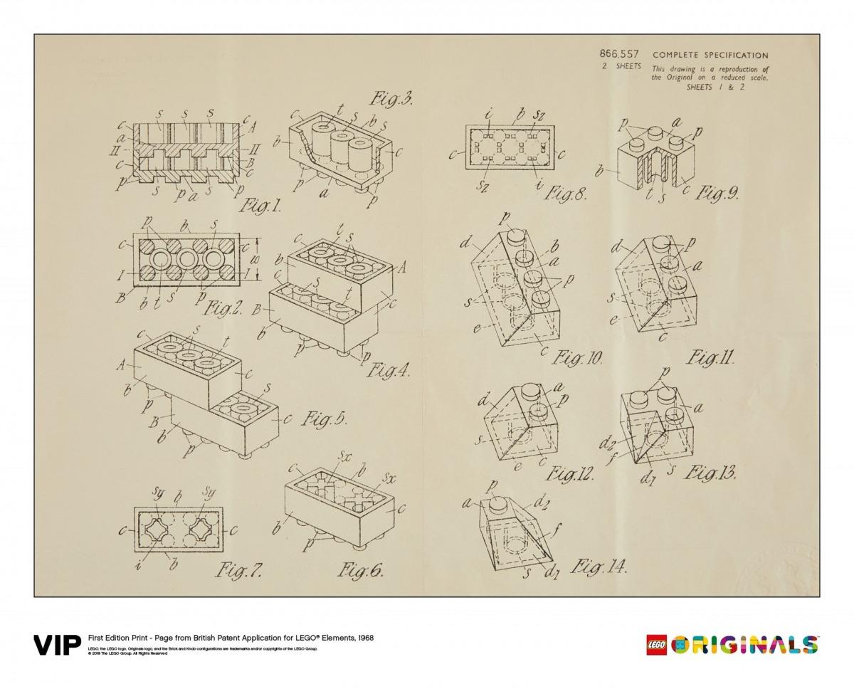lego 5006004 stampa di domanda di brevetto britannico prima edizione 1968 scaled
