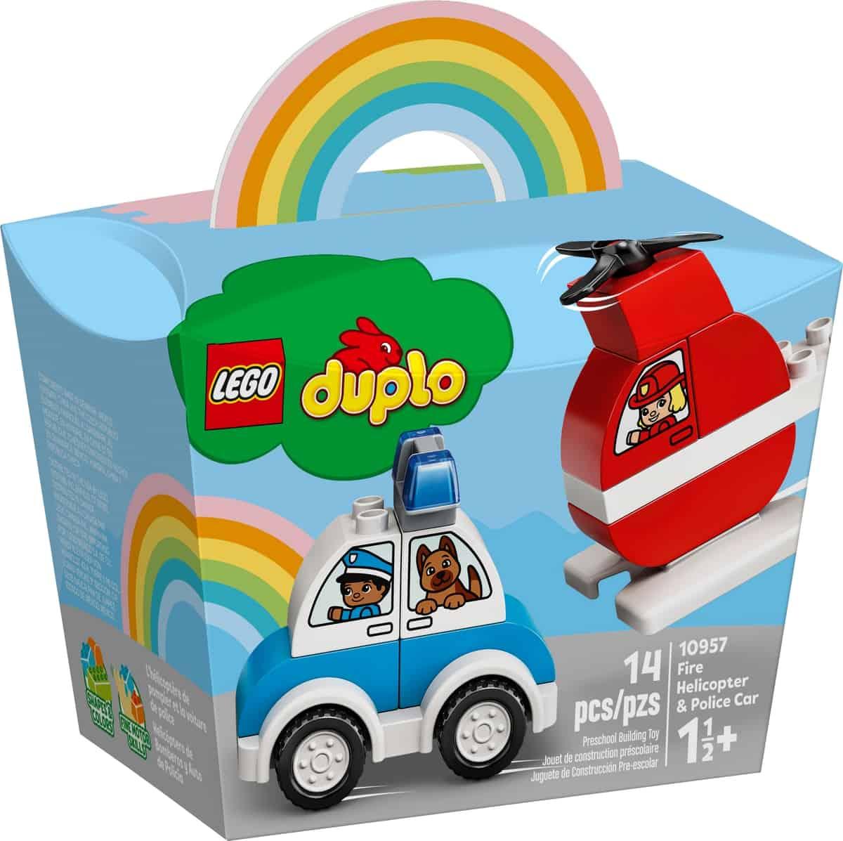 lego 10957 elicottero antincendio e auto della polizia